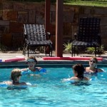 Water aerobics-Moving legs only in deep end of pool