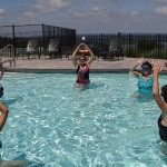 Water aerobics end of session-Relax, stretch, and breathe deeply