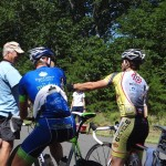 Chatting with the first two cyclists to reach The Summit