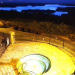 Hot tub at night with High Rock Lake in the background