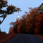 The fire tower on Sierra Trace Road in fall